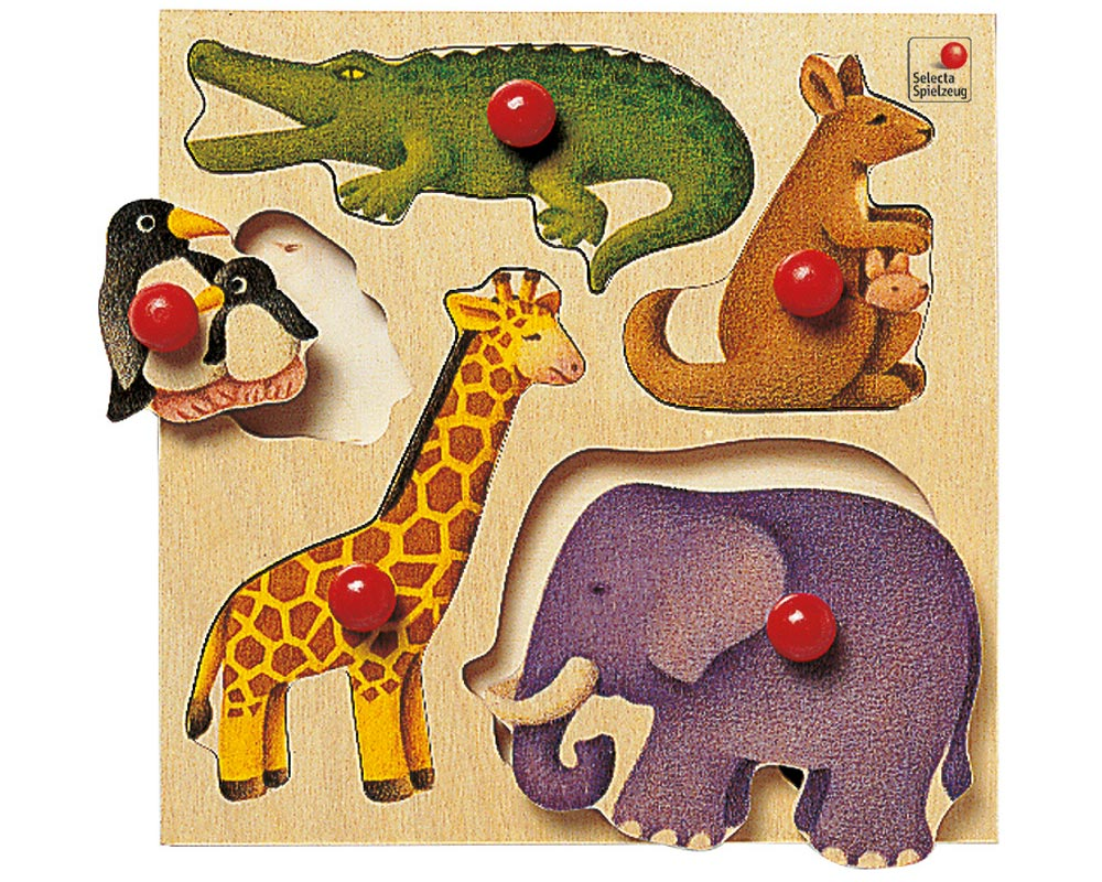holz steckpuzzle für babys mit Kängeru, Giraffe, Elefant, Pinguin, Krokodil, Zoo