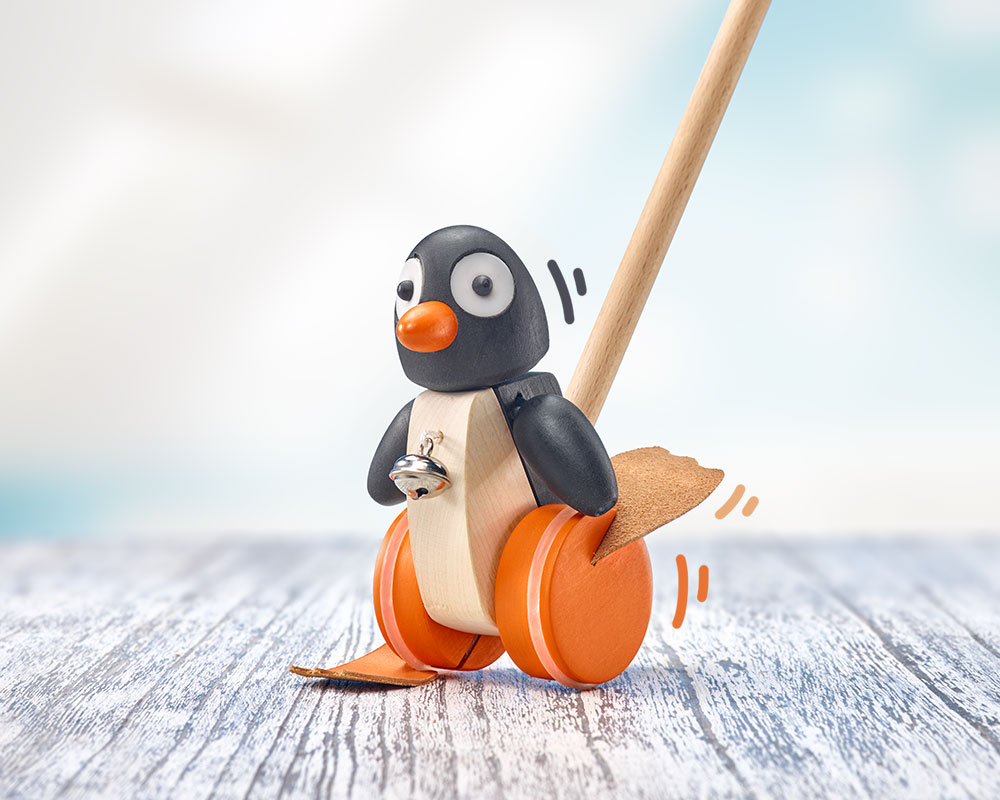 Holz Schiebefigur Pinguin Pingo