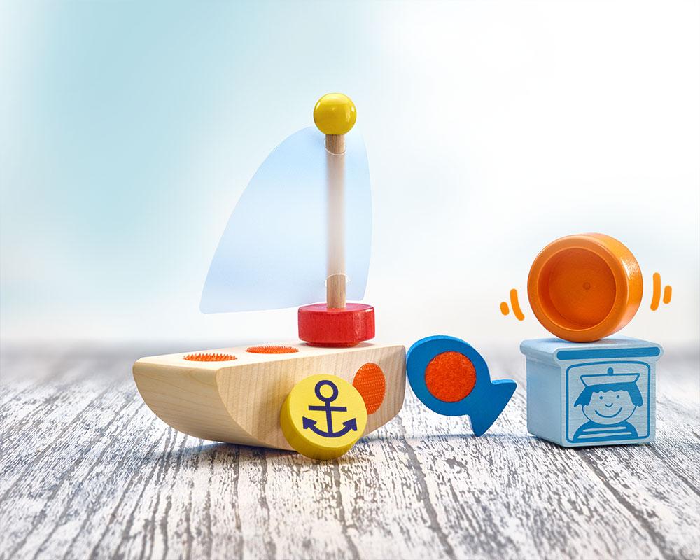 holz spielfigur Boot Klettspielzeug