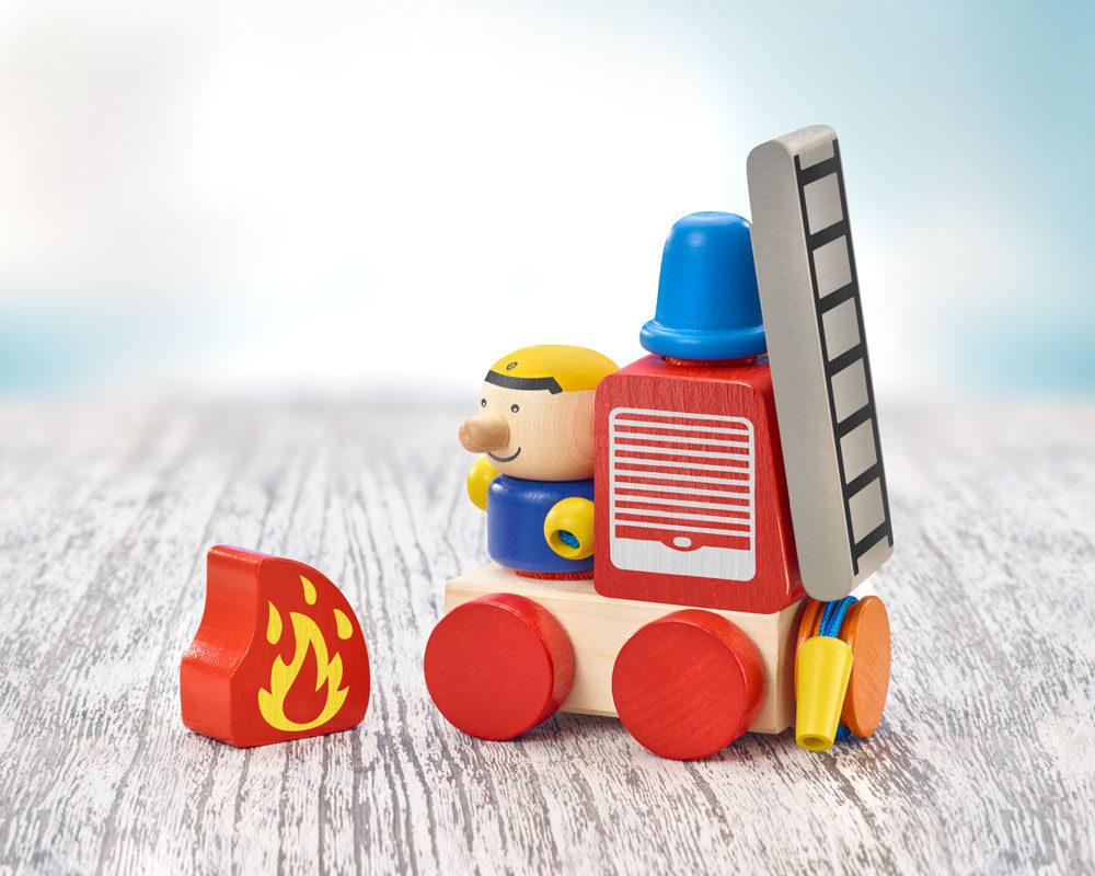 holz spielfigur Feuerwehr Klettspielzeug Fahrzeug