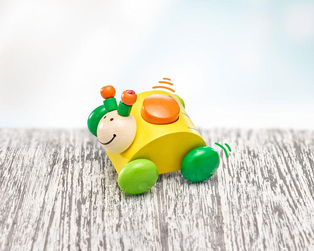Holz buntes Rollspielzeug Greifling Käfer mit Hupe