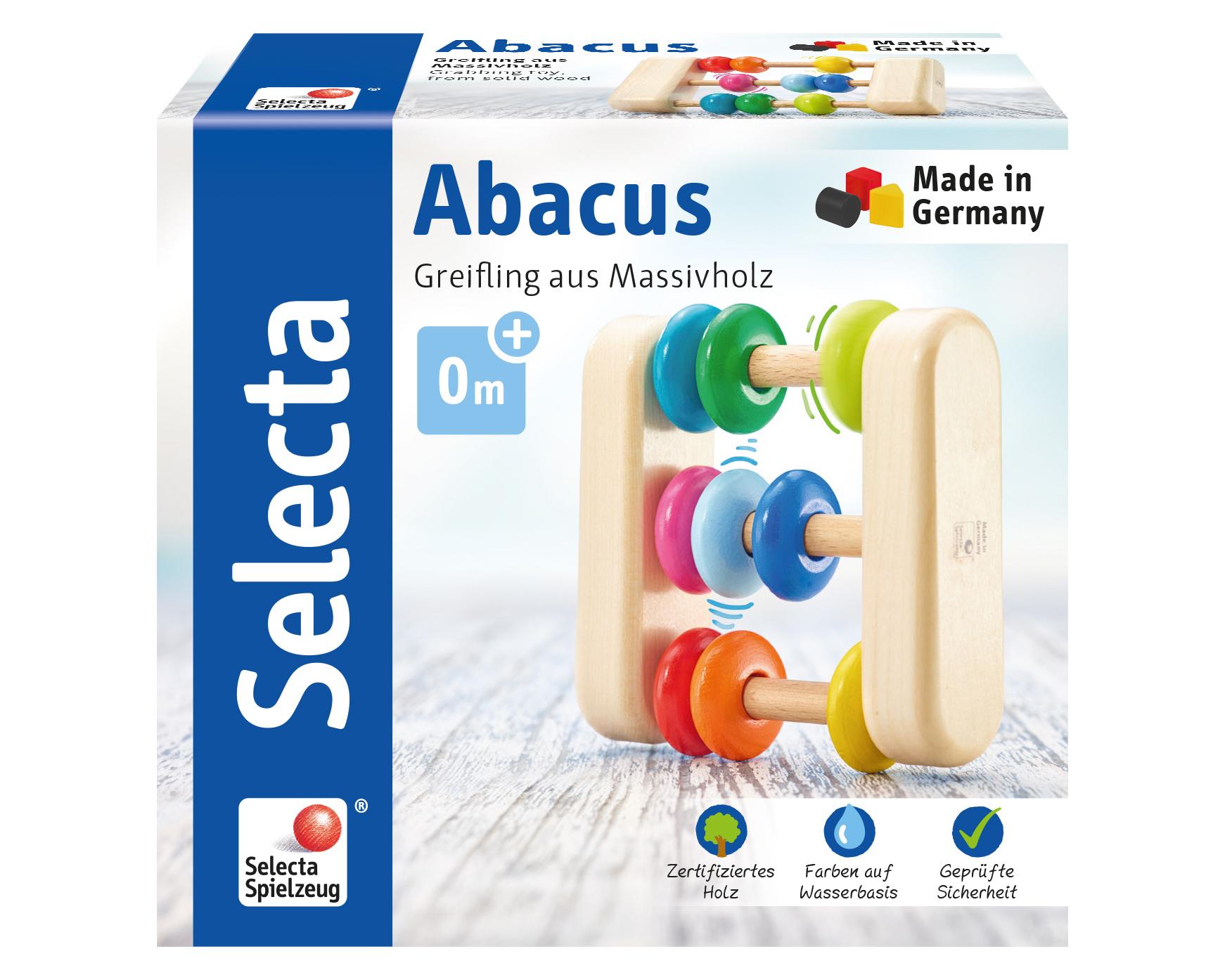 Abacus Holz Schieberechner mit bunten Ringen Packshot