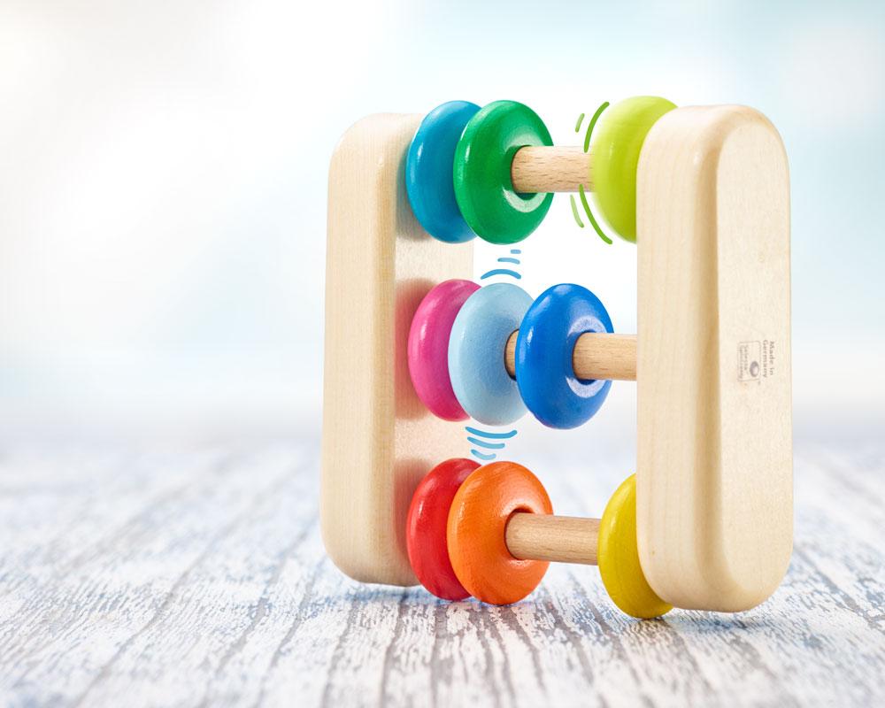 Abacus Holz Schieberechner mit bunten Ringen