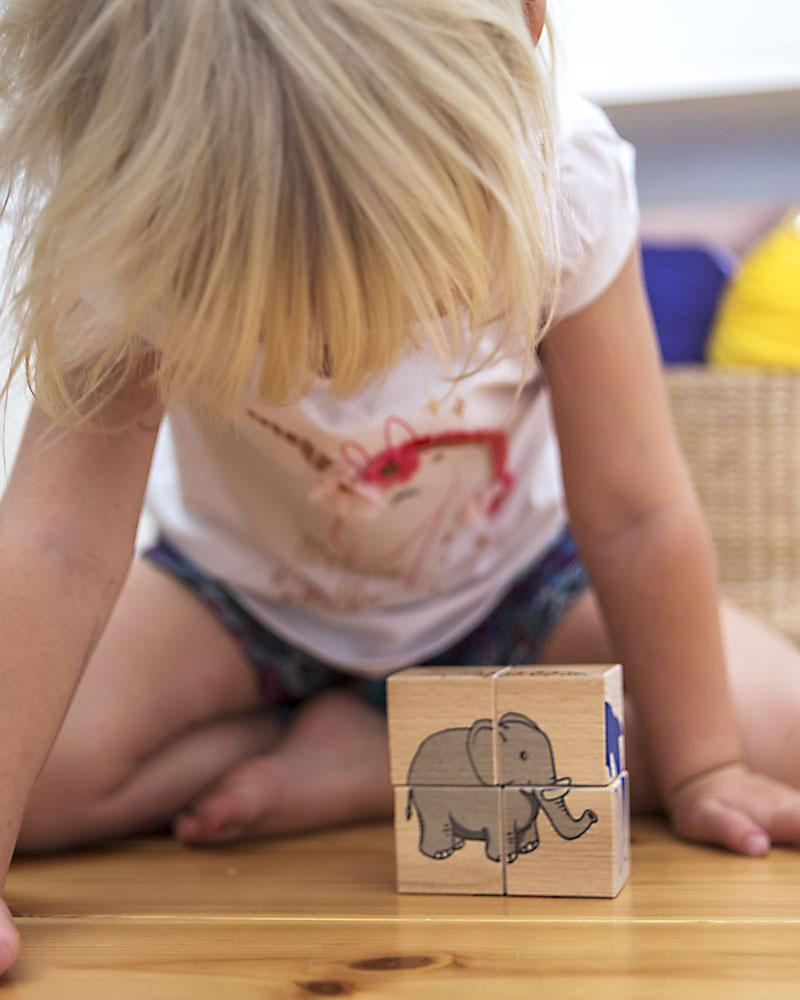 Kleinkind mit Bilderwürfel Zoo Holzspielzeug von Selecta