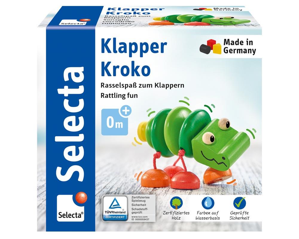 Verpackung Holz grünes Klapper-Krokodil