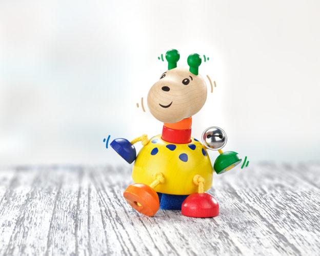 front holz buggyspielzeug quietsche giraffe mit klettverschluss