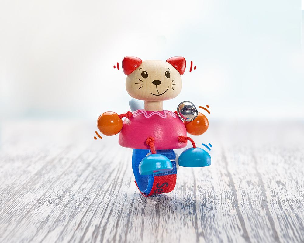 Holz Buggyspielzeug Quietsche Katze mit Klettverschluss