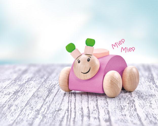 Rollina rosa Holzspielzeug Käfer