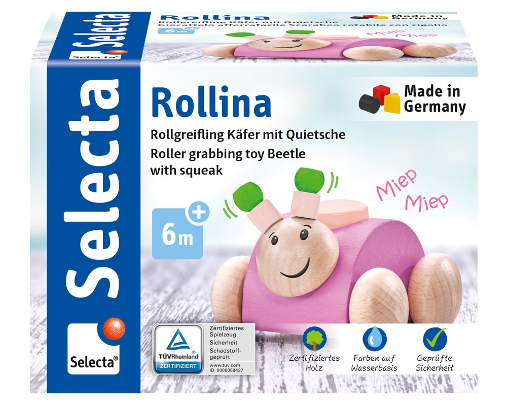 Rollina rosa Holzspielzeug Käfer Packshot