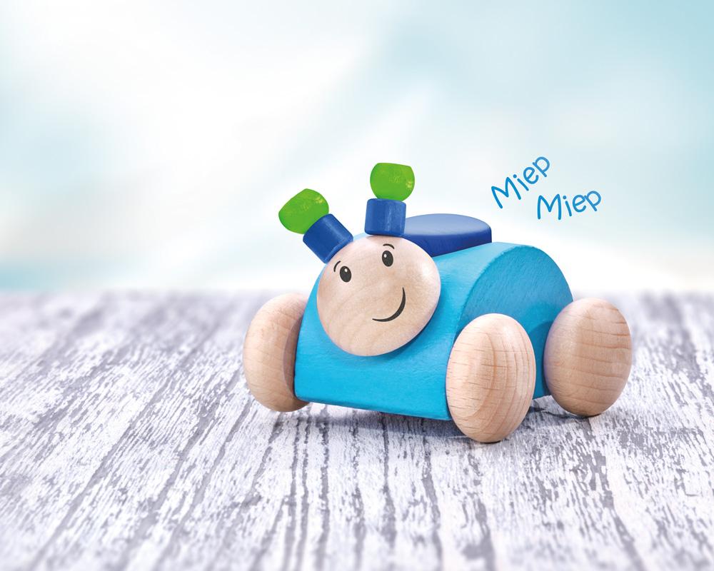 Rollino blau Käfer Holzspielzeug