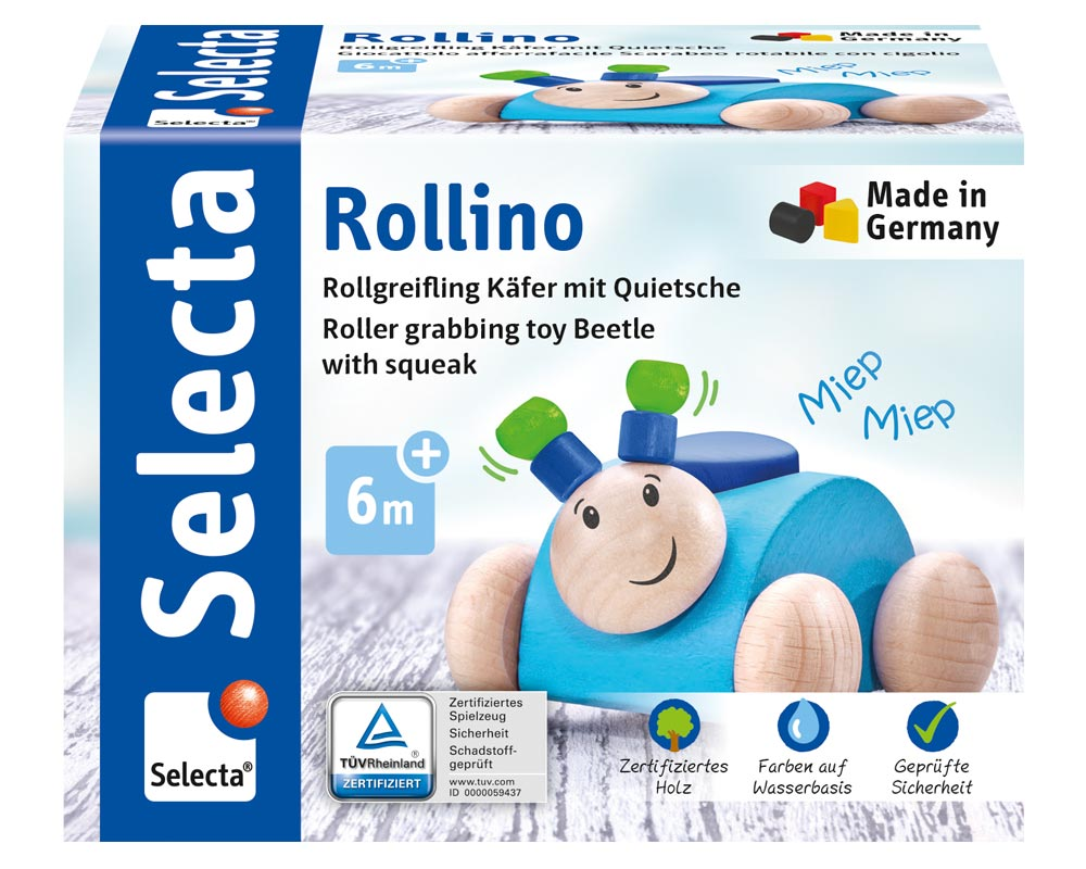 Rollino blau Käfer Holzspielzeug Packshot