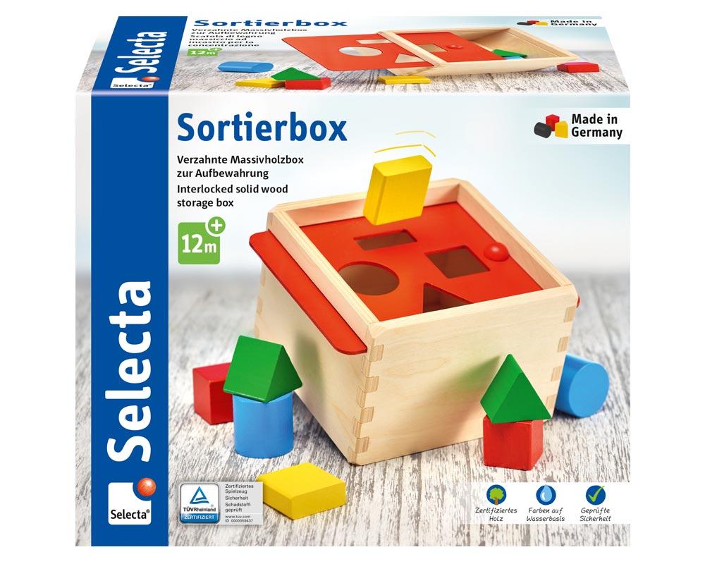 Verpackung Holz bunte Sortierbox mit verschieden farbigen Bauklötzchen