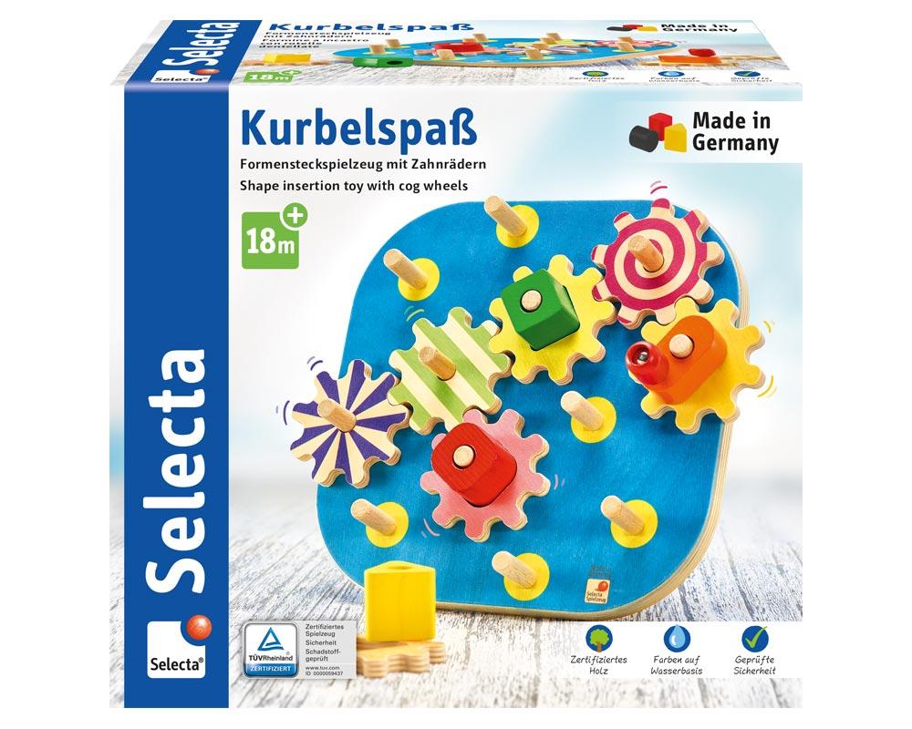 Verpackung Holz buntes Formensteckspielzeug mit Zahnrädern und verschiedenen Bauklötzchen