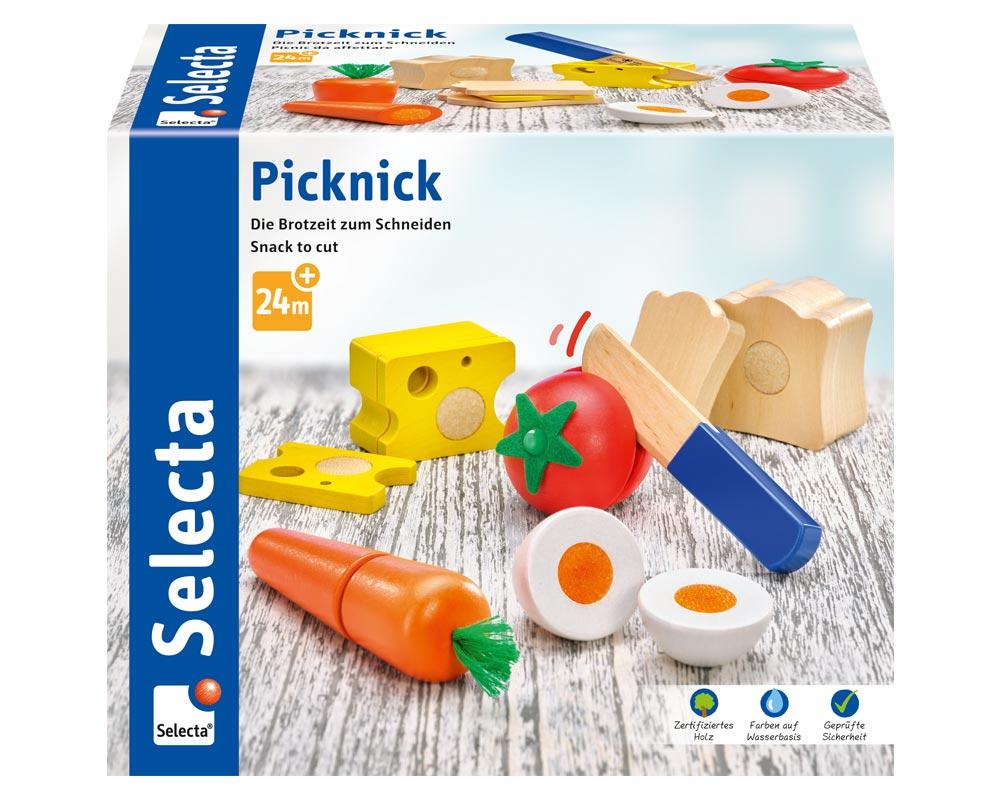 Verpackung Holz bunte Klettspielsteine Brotzeit, Brot, Käse, Tomate, Karotte, Ei und Messer