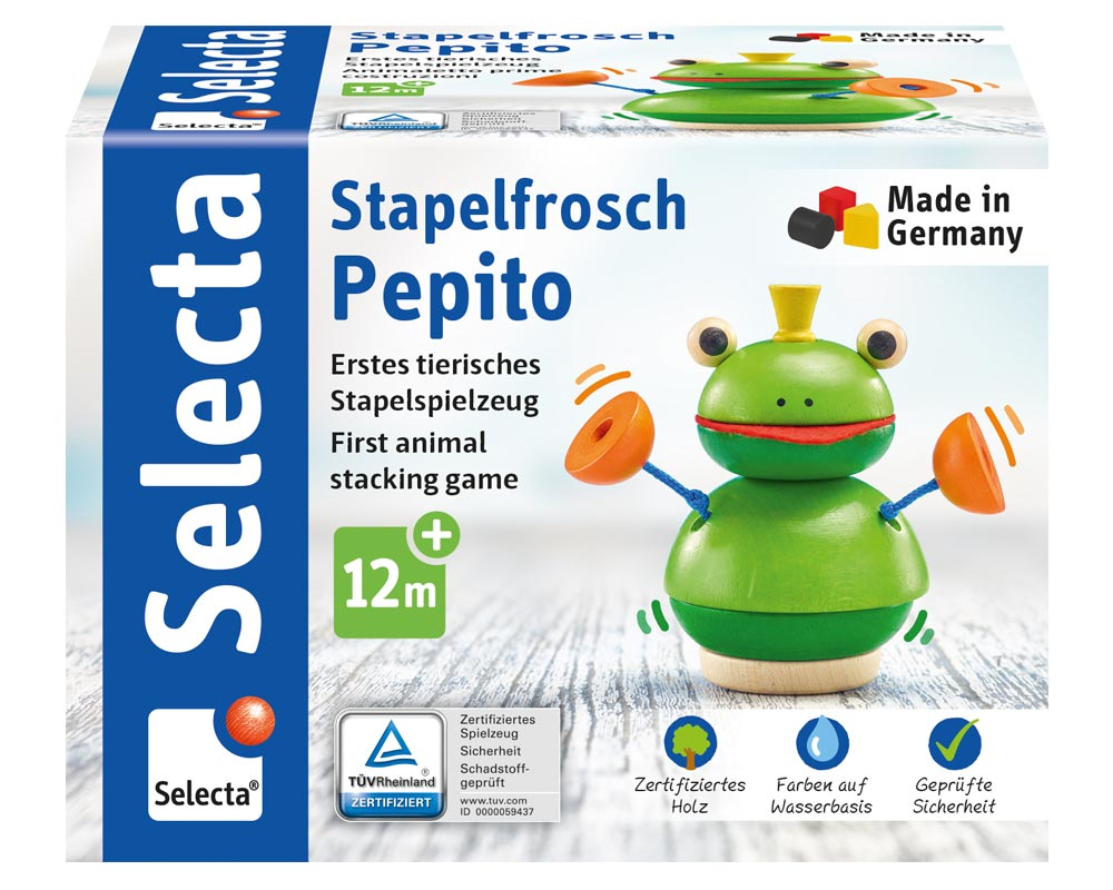 Verpackung Holz Stapelspiel Frosch Pepito