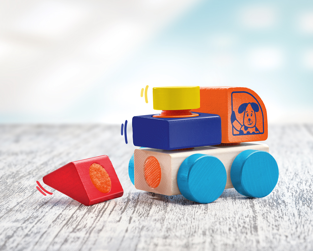 62080 Klettini® Lastwagen Seite Auto Holzspielzeug für Babys und Kleinkinder