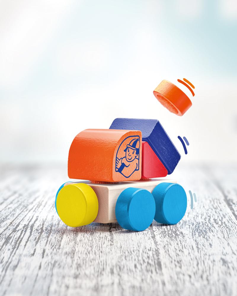 62080 Klettini® Lastwagen Klett Auto Holzspielzeug für Babys und Kleinkinder