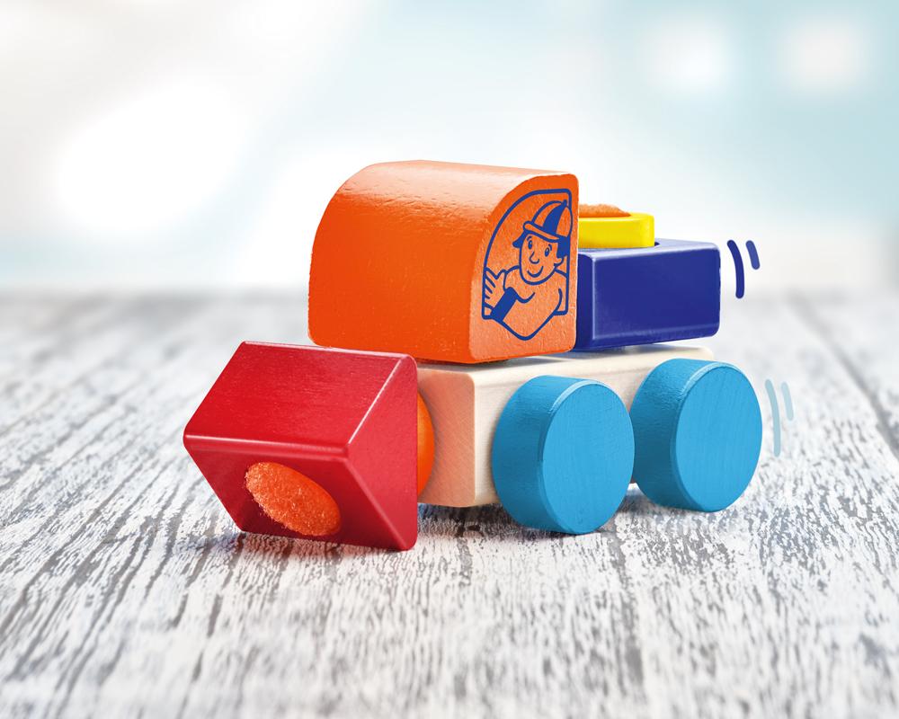 62080 Klettini® Lastwagen Auto Holzspielzeug für Babys und Kleinkinder