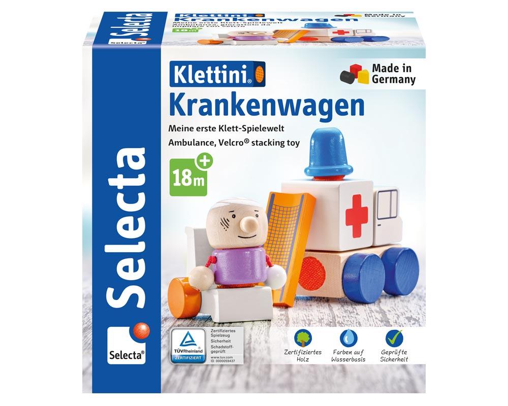 Klettini Krankenwagen Holz Spielzeug Packshot