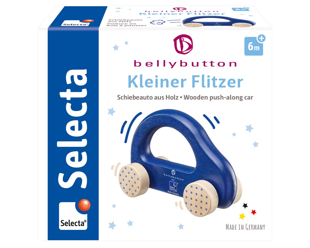 Verpackung Holz blaues Schiebeauto Bellybutton