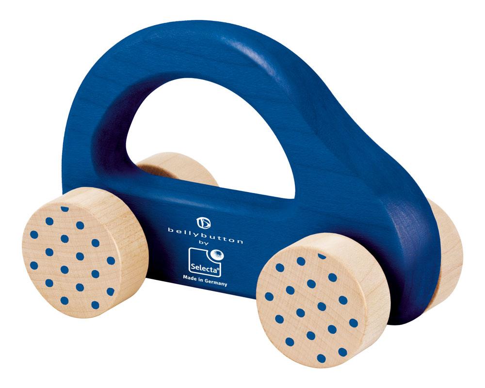 Holz blaues Schiebeauto