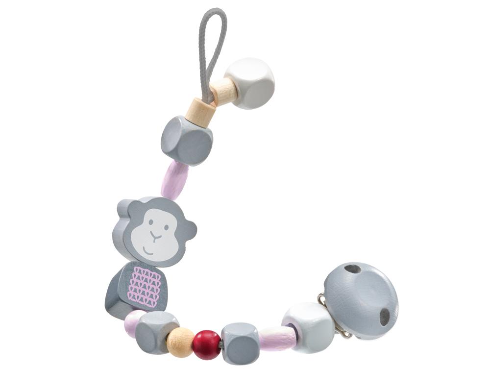 64023 bellybutton Schnullerkette Affe Rosa Holzspielzeug für Babys