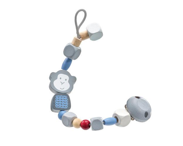 64024 bellybutton Schnullerkette Affe blau Holzspielzeug für Babys